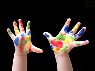 Toddler's hands with paint
