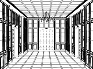 Antique Bookcase Room Vector 01