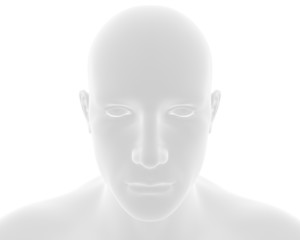 Man face on white background