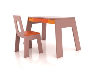 desk and chair for children on a white background in 3d