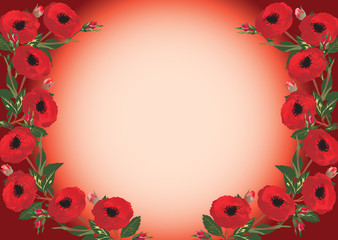 beautiful red flower frame pattern