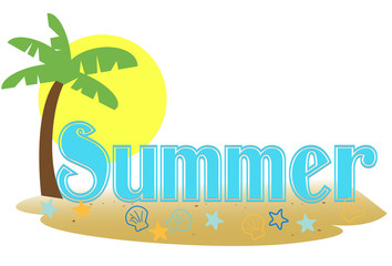 Stylized summer text in a palm island setting