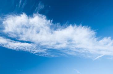 white cloud in blue sky in windy weather