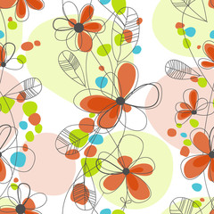 Tuinposter Abstract bloemen Bright floral seamless background