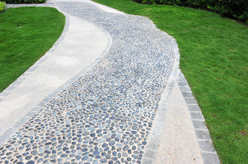 curve stone path in garden
