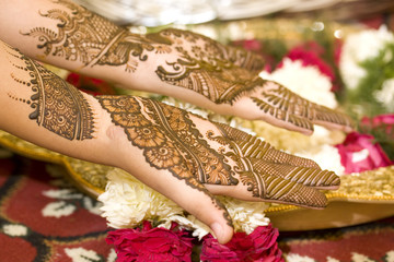 henna on palms of an Indian bride