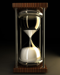 closeup of hourglass in warm on black background 3d