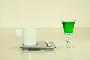 View of turkish coffee with liquor