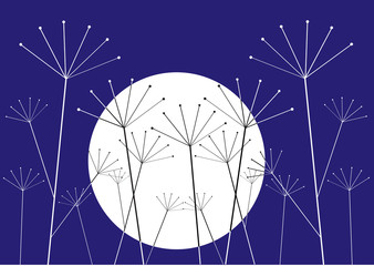 illustration with plants silhouettes and full moon