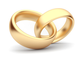 Wedding gold rings 3d. Isolated. Symbol of love