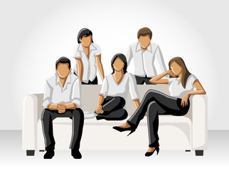 Template of a group people wearing white clothes on sofa