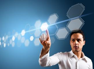 man touching a virtual interface
