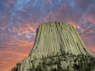 Colors of Sunset over Devils Tower, U.S.A. Wall mural