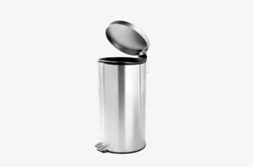 Refuse bin in room corner on white