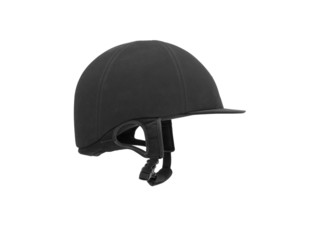 Black ridding cap for horse riders isolated on white