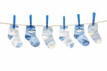 clothesline with baby socks