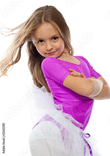 """""""cute Little Girl Posing After Training, Isolated On White"""