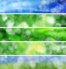 Pack of web banner summer bokeh