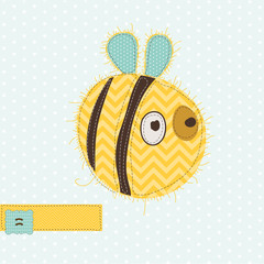 Greeting card with Bee - for scrapbook, invitation, celebration
