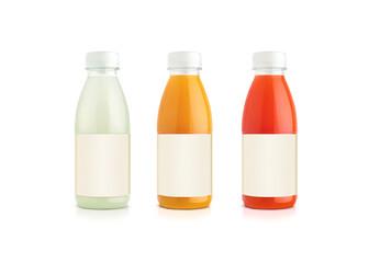 Orange and grapefruit and vanille juice bottles.
