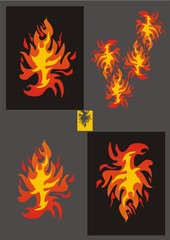 Fiery eagle. Variations on a theme of an eagle
