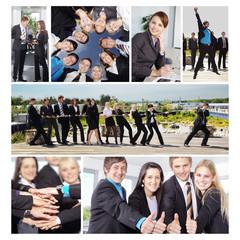 Business Collage, Frauen und Männer im Büro