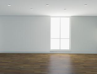 Interno vuoto con finestre e faretti