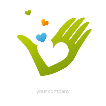 logo entreprise, logo main, coeur
