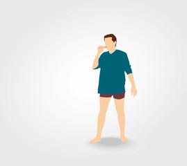 Silhouette d'homme se brossant les dents