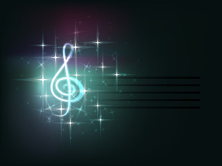 Dark blue background with musical elements: clef, stave.