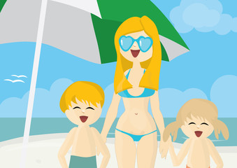 Happy mother with children on a beach