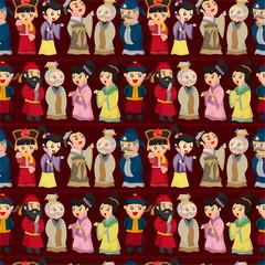 cartoon Chinese people seamless pattern