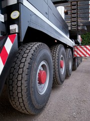 Big wheels and tyres of a 300 ton mobile crane
