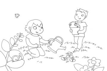 bambini fanno giardinaggio. bianco e nero