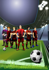 football team. soccer players