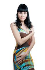 Fotobehang Gymnastiek girl in abstract colored dress