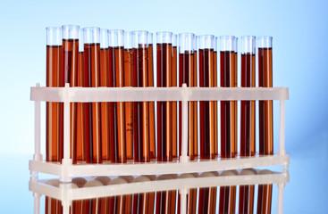 Test tubes closeup on blue background