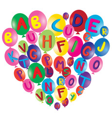vector balloons with alphabet letters