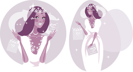 Woman Happy Smiling Bride Illustration - Beautiful Bride in whit