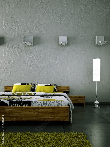 schlafzimmer weiss gr n mit stehlampe stockfotos und. Black Bedroom Furniture Sets. Home Design Ideas