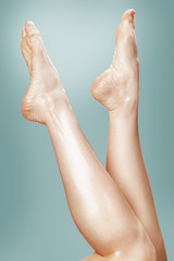 Beautiful wet feet, women legs