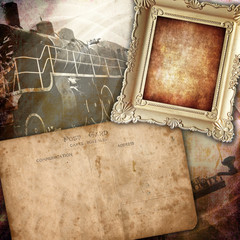 Vintage background, retro frame with old post card