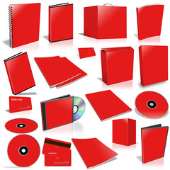 Red 3d blank cover collection