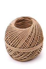 Natural rope ball, isolated, white background