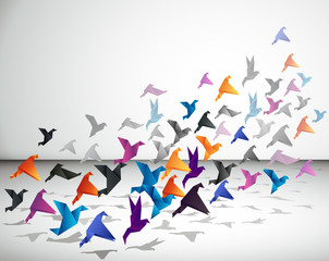 Fotobehang Geometrische dieren Indoor flight, Origami Birds start to fly in closed space.