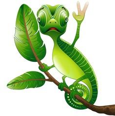 Self adhesive Wall Murals Draw Camaleonte Buffo Cartoon Saluta-Funny Chameleon-Vector