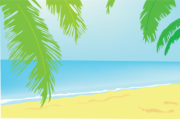 Summer background. A beach with palm trees on the sea