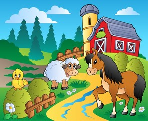 In de dag Pony Country scene with red barn 2
