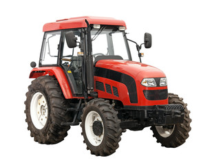 New red tractor isolated over white background