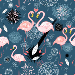 pattern of love flamingos